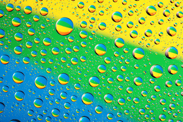 waterdrop bacground on blue, yellow and green colors