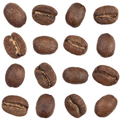 Seamless pattern of coffee beans isolated on white