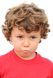 Adorable boy sad and gotten upset on a over white background poster