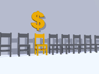 row of chairs, one in yellow and dollar sign - 3d illustration