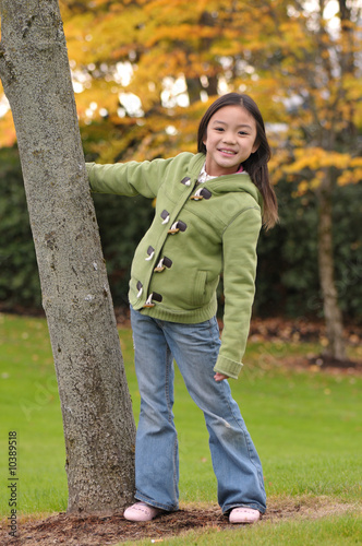 Little Chinese girl posed for a photo shoot