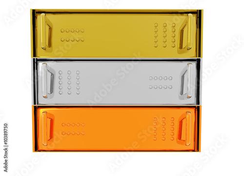 Gold Silver Bronze Server Rack Hosting boxes on White