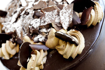 Round chocolate cake with frosting close up