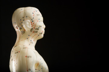 Side view of acupuncturists doll isolated on black