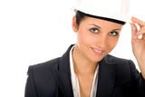 Businesswoman wearing hardhat poster