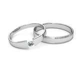 Platinum or silver rings with diamond on white background