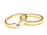 Gold rings with diamond on white background