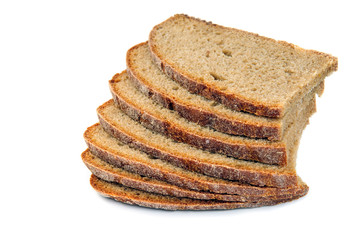loaf of dark rye bread isolated on white