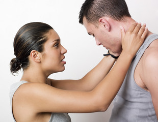 woman comforting her boyfriend