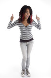 full body pose of punk teenager on an isolated white background