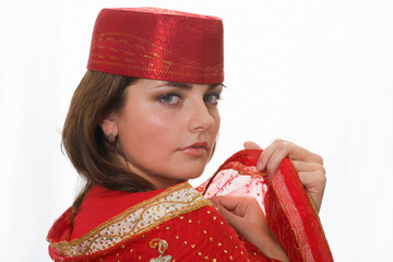 Model in an unknown red national suit