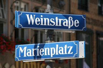 Street and square name in the very center of Munich old town