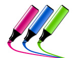 Colorful felt-tip pen isolated on white poster