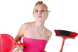 portrait of young beautiful housewife with dustpan and broom