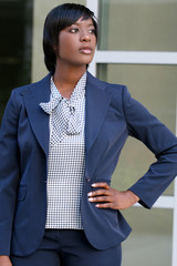 Beautiful African American Business woman outdoors