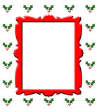 Postal de Navidad marco rojo poster