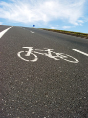Roadside bicycle lane mark close-up.