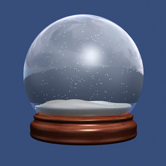 snow globe of christmas on blue background