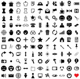 121 vector pictograms. Black-and-white contour. Set 1. poster