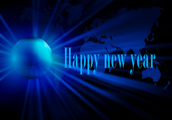 happy new year - disco ball illustration and text