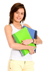 casual female student with notebooks
