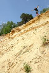 Sandski. Sand-ski. Sandy open-cast mine in Moscow.