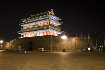 Zhengyangmen by night,ancient city gate in beijing
