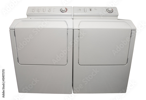 Washer and dryer appliances isolated on white