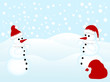 Two snowmen with Santa's hats and sack