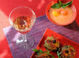 apéritif rosé courgettes et melon