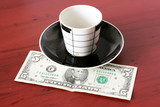 payment cash for cup aromatic coffee poster