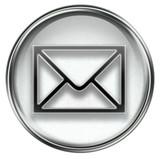 postal envelope grey, isolated on white background poster