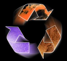 conceptual recycling symbol on black