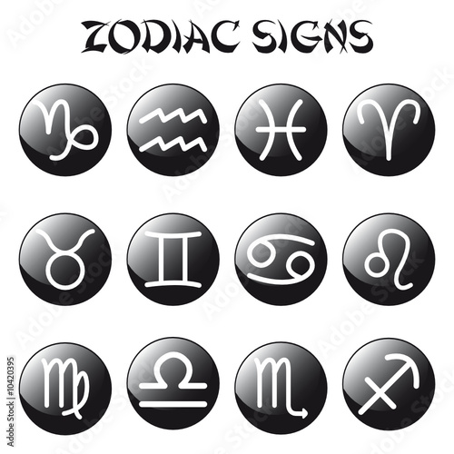 zodiac signs on black