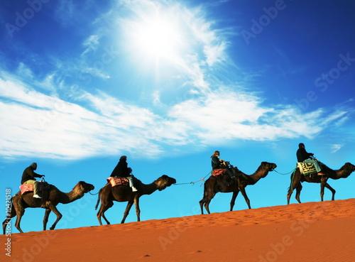 Leinwanddruck Bild Caravan in Sahara desert