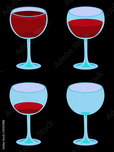 Four Vector Wineglasses on Black