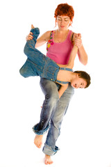 Mother holds son and jumping
