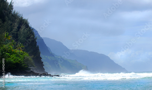 The rugged shoreline along the Napali coast of Kauai Hawaii