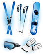 Skiing objects, vector illustration