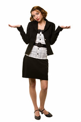 Full body of an attractive young business woman standing