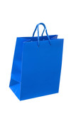 The dark blue package for purchases is isolated poster