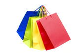 Multi-coloured packages for purchases poster