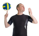 oung man performing trick with the volley ball poster