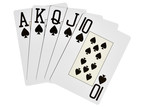 Spades royal flush isolated over white background poster
