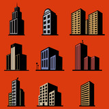 modern building vector set poster