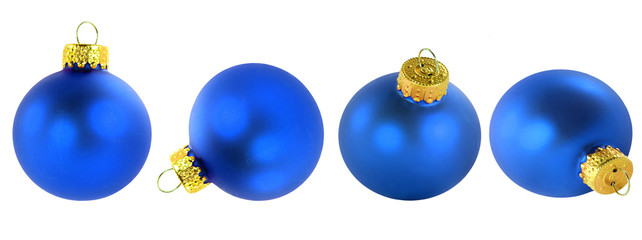 Blue glass Christmas ornaments in different positions.