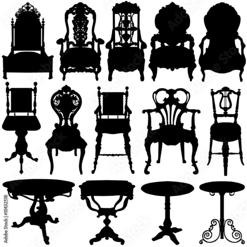 antique chair and table vector
