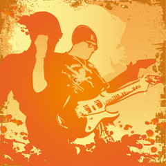 vector illustration with vigorous guitar player