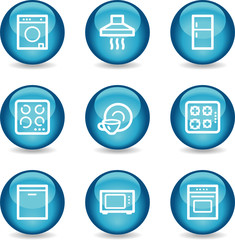 Home appliances web icons, blue glossy sphere series