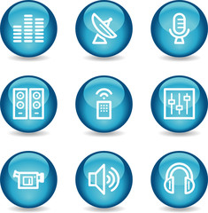 Media web icons, blue glossy sphere series